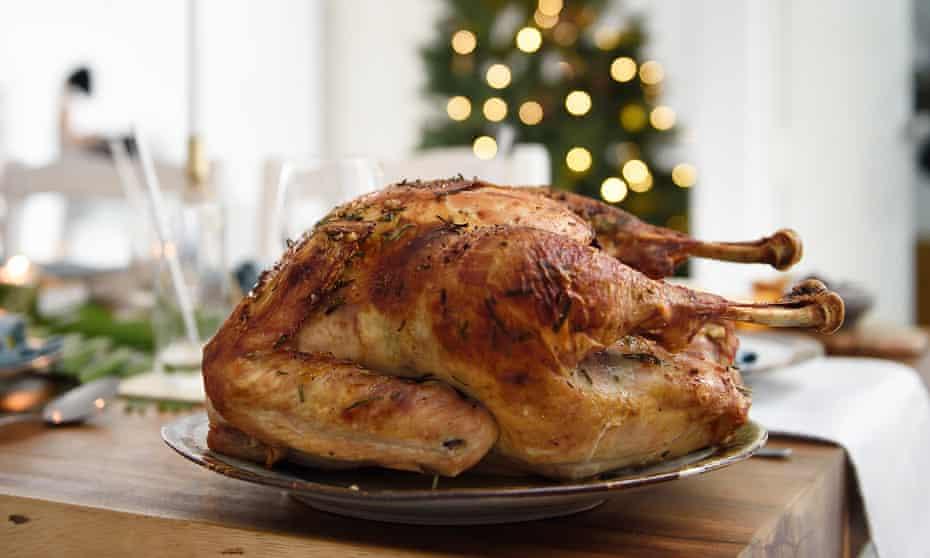 Roast turkey on a beautiful Christmas table