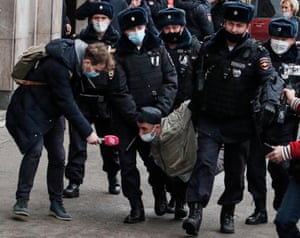Moscow, Russia. Police officers detain participants of an unauthorised march organised by nationalists on National Unity Day