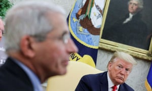Donald Trump with Fauci in a coronavirus meeting at the White House in April.