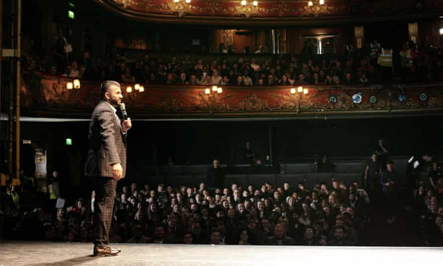 Hussain Manawer introducing the lesson at the Hackney Empire.