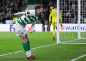 Celtic's Ryan Christie celebrates scoring their second goal.