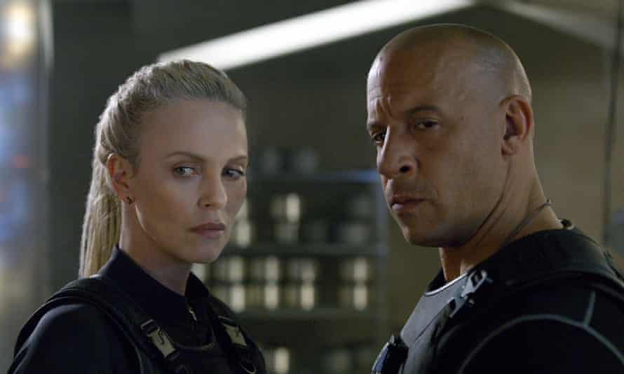 Charlize Theron, left, and Vin Diesel in The Fate of the Furious – aka Fast & Furious 8.