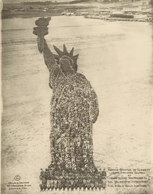 Human Statue of Liberty: 18,000 Officers and Men at Camp Dodge, Des Moines, Iowa, Col Wm Newman Commanding, Col Rush S Wells, Directing, c 1918. Arthur S Mole & Thomas, gelatin silver print