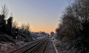The approaching 7:42 to London Waterloo from Claygate, Surrey on a frosty January morning.