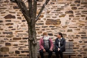 Ngarrindjeri man Major Sumner (mogi) and Anna Russo, the Aboriginal heritage manager.