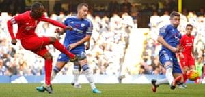 Christian Benteke scores the third goal for Liverpool.