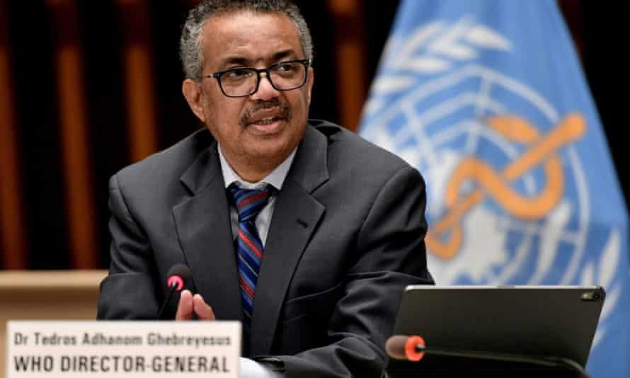 The World Health Organization's director-general, Tedros Adhanom Ghebreyesus