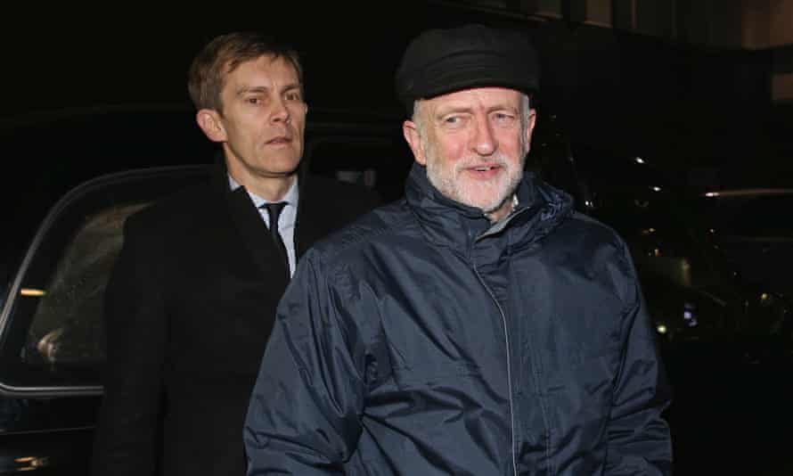 Jeremy Corbyn, right, and Seumas Milne arrive at a Stop the War fundraising dinner in 2015.