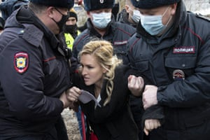 Alliance of Doctors trade union member and Alexei Navalny's personal doctor Anastasia Vasilyeva is detained by police officers at the entrance to the penal colony N2, where Kremlin critic Navalny has been transferred to serve a two-and-a-half year prison term for violating parole.