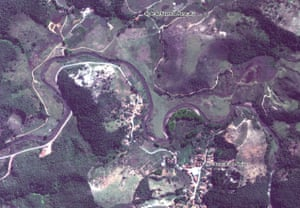 Satellite image of Paracatu de Baixo village on the Gualaxo do Norte river in the south eastern state of Minas Gerais