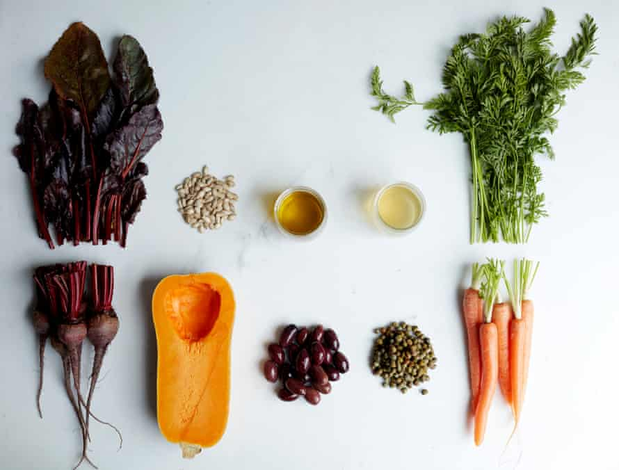 Beetroot, squash, beans, seeds and carrots along with the wasted parts of these ingredients that we usually throw away