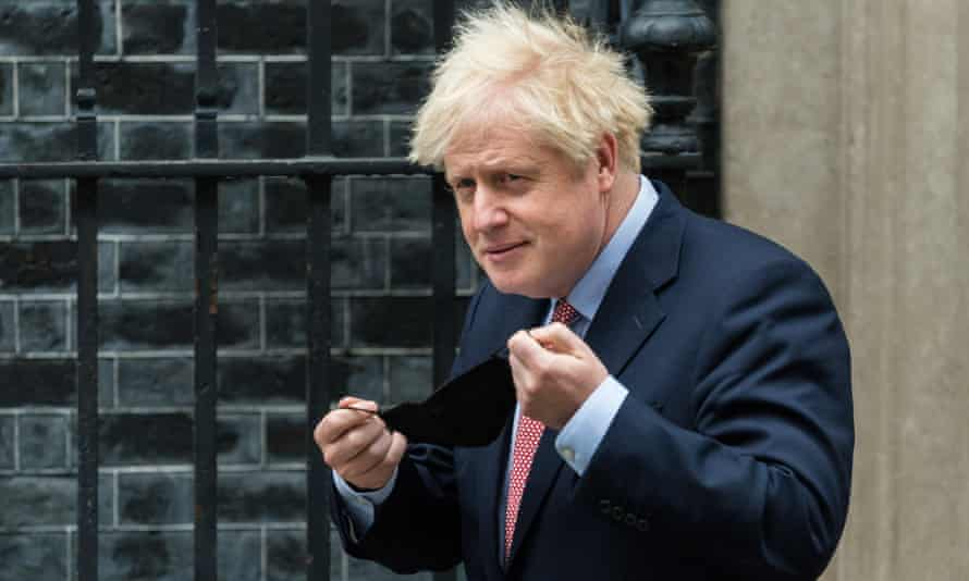 Boris Johnson leaves Downing Street to deliver his leader's speech at the Conservative conference