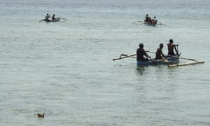 Fishermen near the island's coast