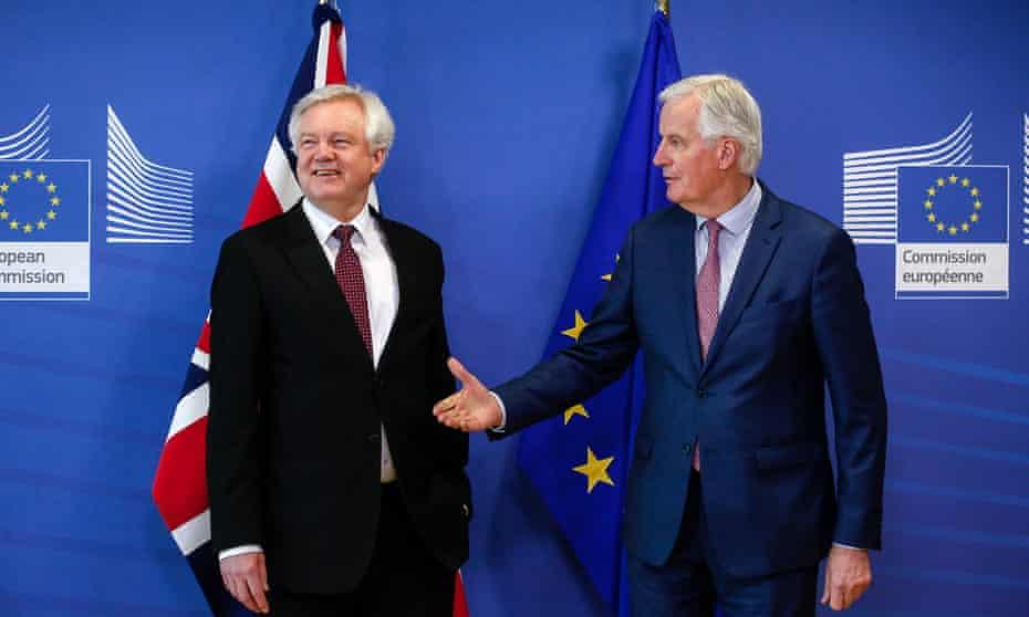 Power play … former Brexit secretary David Davis meets Michel Barnier.