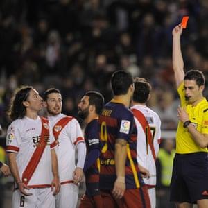 Rayo Vallecano's Manuel Rolando Iturr sees red courtesy of referee Vicandi Garrido.