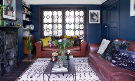 Old-world glamour: the living room with salvaged glass doors.
