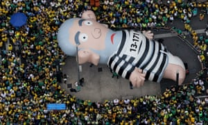 Pixuleco, an inflatable doll depicting Lula, is seen during São Paulo protests calling for President Rousseff's impeachment.