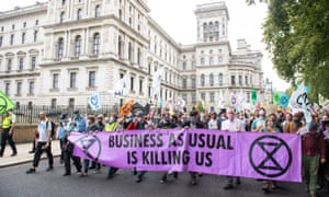 Extinction Rebellion protesters outside the Treasury building in Westminster, London, September 2020