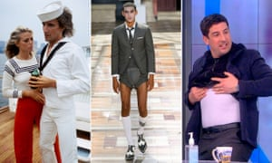 From left: Rod Stewart and Britt Ekland in 1975, Thom Browne's summer show 2020, and Jason Biggs flaunts his Spanx.
