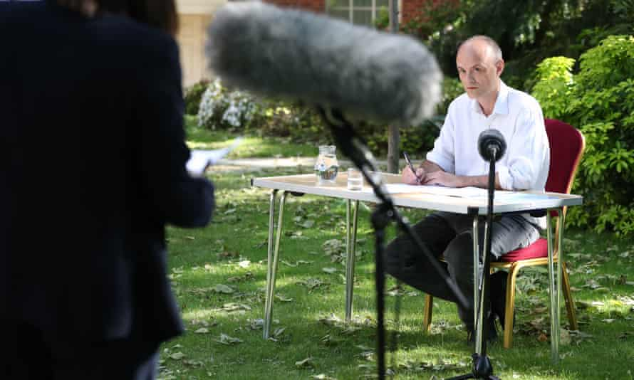 Enthralling … special adviser Dominic Cummings takes press questions at 10 Downing Street on 25 May.