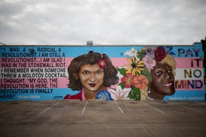 A mural on Cedar Springs in Dallas, Texas commemorating the 50th anniversary of Stonewall.