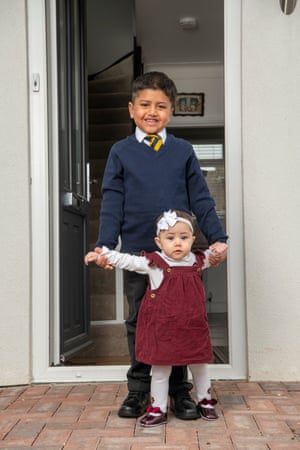 Ethan Braganza all ready for the start of school after lockdown with 11 month old sister Isla