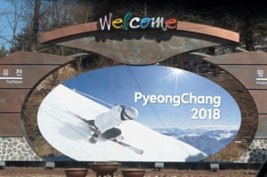 Advertising hoarding promotes the 2018 Winter Olympics at PyeongChang.