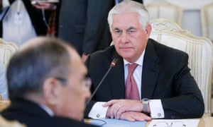 US Secretary of State Rex Tillerson talks to Russian Foreign Minister Sergei Lavrov (L) during their meeting in the Russian Foreign Ministry guest house in Moscow