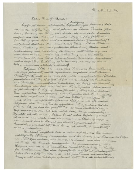 The first page of Albert Einstein's 'God Letter', dated 3 January 1954.
