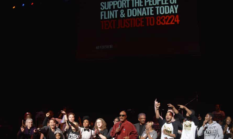 Justice for Flint Michigan water crisis Stevie Wonder Janelle Monae