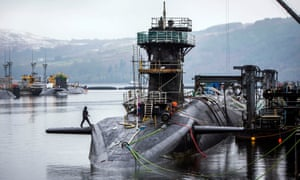 HMS Vigilant, one of the UK's four nuclear warhead-carrying submarines, at HM Naval Base Clyde, also known as Faslane.