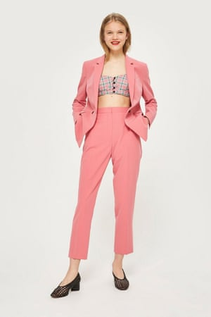 Pink double-breasted suit from Topshop