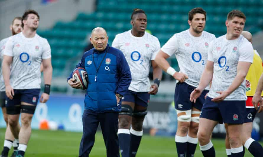 Eddie Jones and England before the game against France in the Six Nations; an RFU review into England's performance cleared the coach of blame.