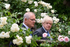 London, England Prime minister Boris Johnson attends a press conference with Australian prime minister Scott Morrison in the garden of 10 Downing Street after agreeing the broad terms of a free trade deal between the UK and Australia