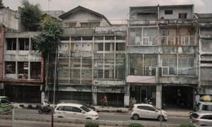 Buildings along Jalan Pintu Besar Selatan, Chinatown of Glodok in West Jakarta, Indonesia.