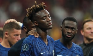 Tammy Abraham is consoled by his Chelsea teammates after missing a decisive penalty in Istanbul.