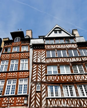 Half-timbered houses in the square Place du Champ Jacquet, in the historic centre of Rennes.