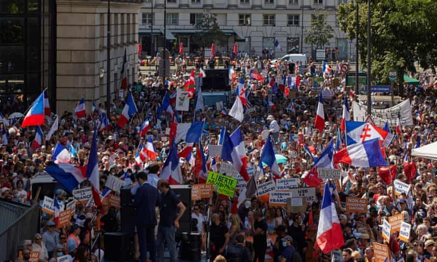 Saturday's protest in Paris against the Covid health pass.