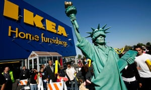 A woman dressed as the Statue of Liberty outside Ikea in Brooklyn, New York
