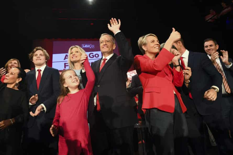 Bill Shorten, his wife Chloe, son Rupert, daughter Clementine and deputy Labor leader Tanya Plibersek at a Labor volunteers' rally at the Southern Cross Vocational College in Burwood in Sydney.