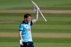 England's Eoin Morgan reacts after reaching his century.