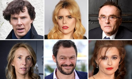 Clcokwise from top left: Benedict Cumberbatch, Paloma Faith, Danny Boyle, Helena Bonham-Carter, Dominic West and Sam Taylor-Wood are among the stars backing Britain to remain in the EU.