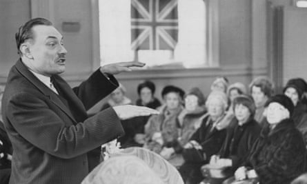Enoch Powell speaking to women Conservatives in Stockport, February 1968.