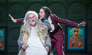 Bryn Terfel as Boris Godunov and John Graham-Hall as Prince Vasily Ivanovich Shuisky in the Royal Opera's new production that opened on 14 March 2016.