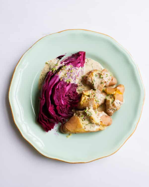 Nigel Slater's red cabbage with cider and steamed potatoes.