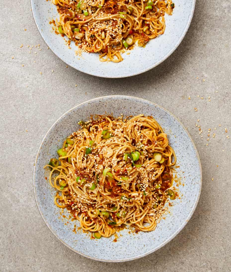 Yotam Ottolenghi's kalbi butter noodles, with spring onions and sesame seeds.