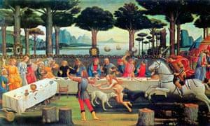 A scene from Boccaccio's Decameron, 1487, by Sandro Botticelli.
