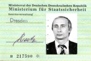 A photo ID card issued to a young Vladimir V. Putin by the Stasi