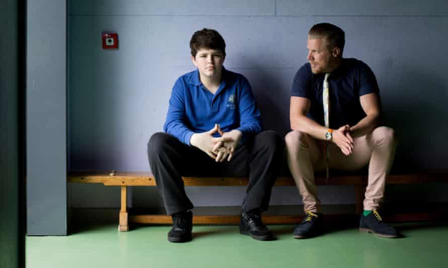 Andrew, 15, and headteacher Mr Oldman