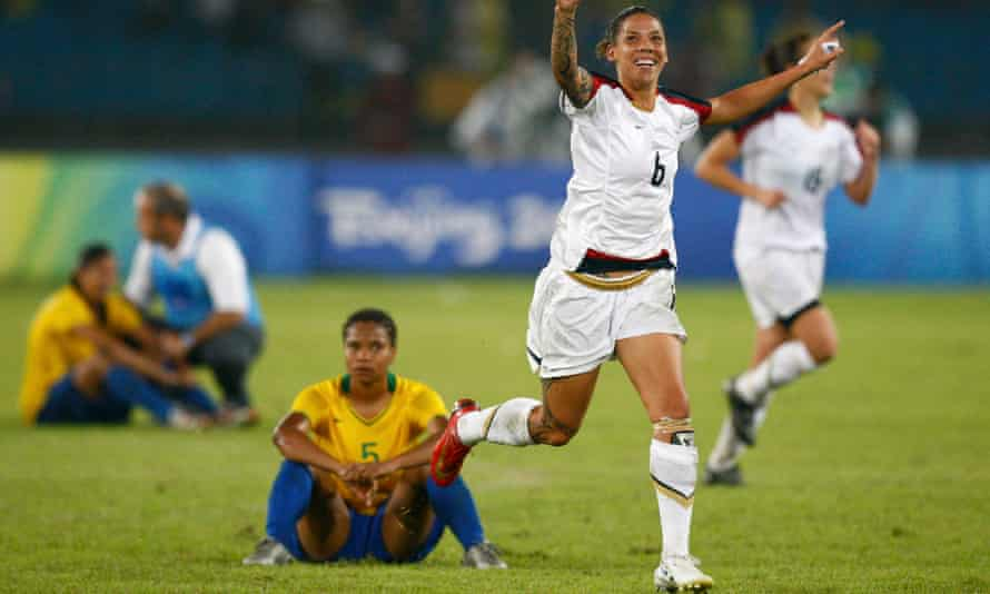 Natasha Kai celebrates after the US beat Brazil at the 2008 Olympics